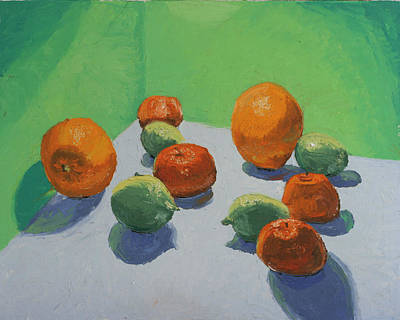 Tangerine Painting - Limes Arrance And Tangerines by David Zimmerman