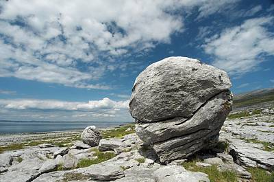 Limestone Boulder At The Burren Print by Sinclair Stammers