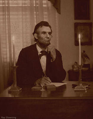 Digital Art - Lincoln At His Desk by Ray Downing