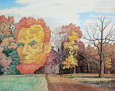 Double Image Painting - Lincoln In The Trees by Ben Sapia
