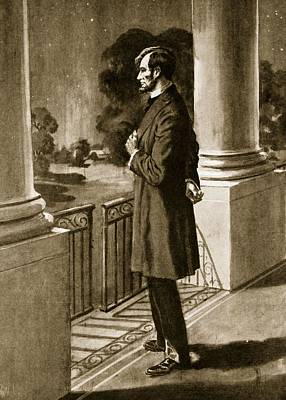 Lincoln Looks Out From The White House Print by American School