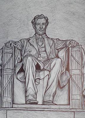 Washington Monument Drawing - Lincoln Memorial by Christy Saunders Church