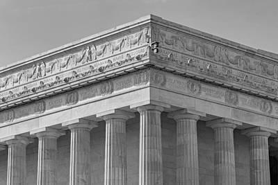 Washington Monument Photograph - Lincoln Memorial Columns Bw by Susan Candelario