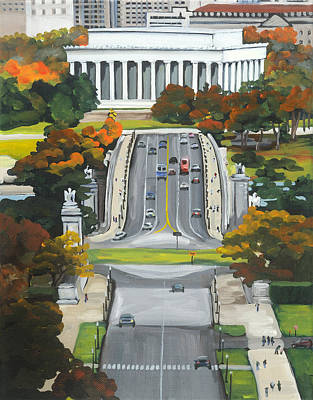 Lincoln Memorial From Arlington House Original by Anne Lewis
