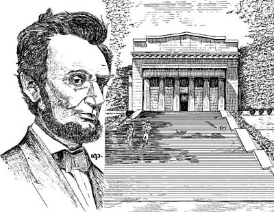 Lincoln Memorial Drawing - Lincoln Memorial by Robert Powell