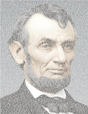 Honest Abe Drawing - Lincoln Quotes Mosaic by Paul Van Scott