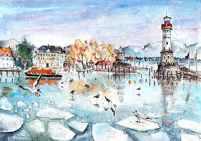 Seagull Drawing - Lindau Harbour In Winter by Miki De Goodaboom