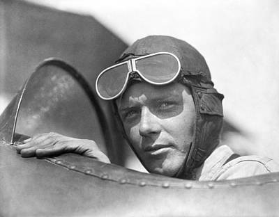 Lindbergh In Cockpit Print by Underwood Archives