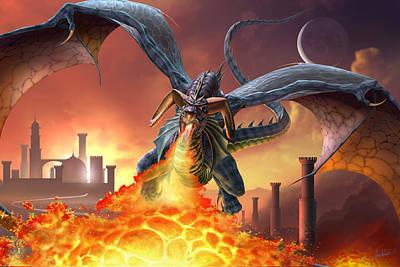 Blue Dragon Digital Art - Line Of Fire by Tom Wood
