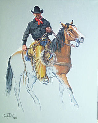 Chaps Painting - Line Rider by Randy Follis
