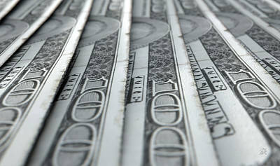 Lined Up Close-up Banknotes Print by Allan Swart