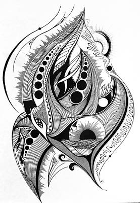 Lines Circles And Flames Original by Kelly Hazel