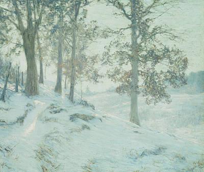 Winter Light Painting - Lingering Oak Leaves by Walter Launt Palmer