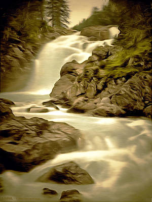 Waterscape Painting - Linn Muick Waterfall Scotland by Unknown