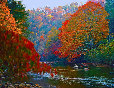 Linville River In The Fall Print by Garland Johnson