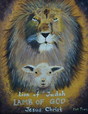 Lion Of Judah Painting - Lion And The Lamb by Kat Poon