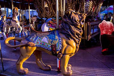 Antique Carousel Photograph - Lion Carrousel  by Garry Gay