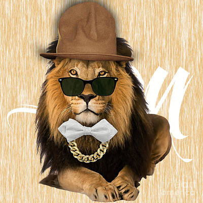Jungle Mixed Media - Lion Collection by Marvin Blaine
