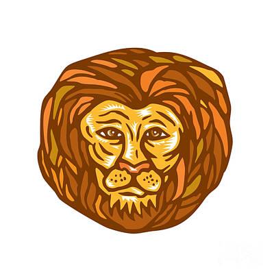 Lion Head Woodcut Linocut Print by Aloysius Patrimonio