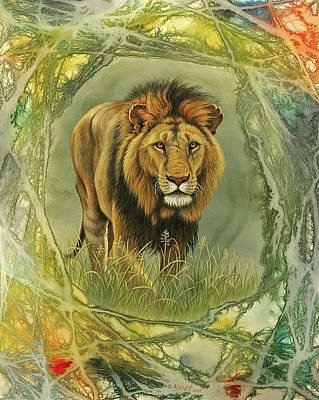 Lion In Abstract Print by Paul Krapf