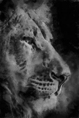 Lion In The Clouds Print by Ernie Echols