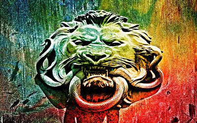 Brass Snake Digital Art - Lion Knocker by Greg Sharpe