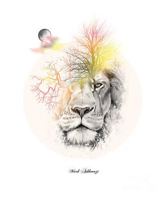 Cool Lion Digital Art - Lion by Mark Ashkenazi