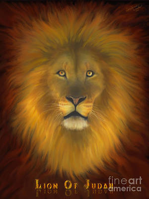Lion Of Judah Painting - Lion Of Judah Fire In His Eyes 2 by Constance Woods