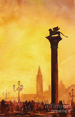 Lightpost Painting - Lion Of San Marco Sunset by Ryan Fox