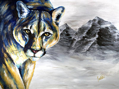 Lion Painting - Ghost Of The Mountains by Teshia Art