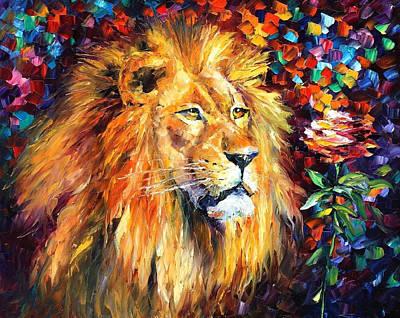 Lion Of Zion - Palette Knife Oil Painting On Canvas By Leonid Afremov Original by Leonid Afremov