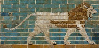 Lion Relief From The Processional Way In Babylon Print by Babylonian