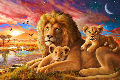 Lion Sunrise Print by Adrian Chesterman