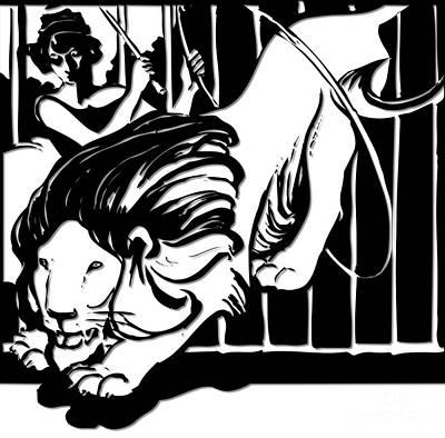 Scherenschnitte Digital Art - Lion Tamer Silhouette  by Rose Santuci-Sofranko