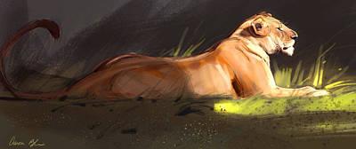 Blaise Digital Art - Lioness Sketch by Aaron Blaise