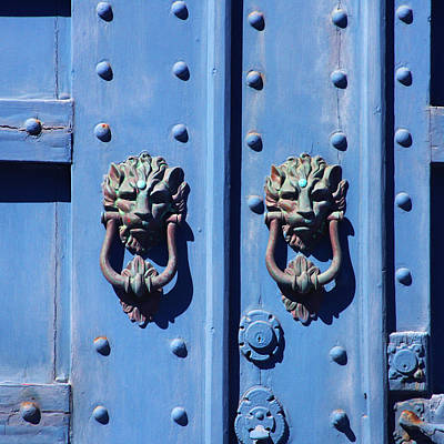 Cambria Photograph - Lions On Blue Door by Art Block Collections