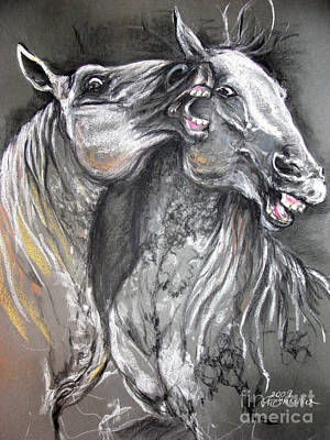Lippizan Horses Fight Soft Pastel  Original by Angel  Tarantella