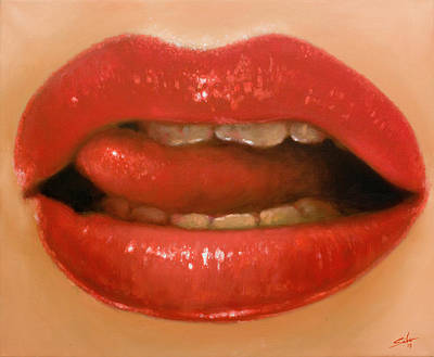 Nude Pussy Painting - Lips II by John Silver
