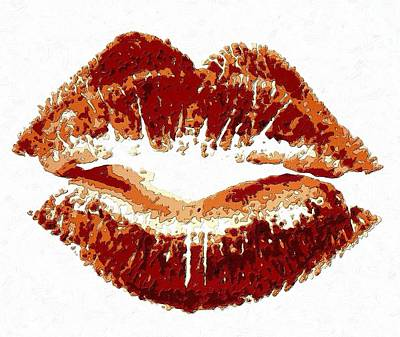 Black Painting - Lips Of Passion by Florian Rodarte