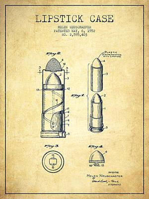 Salon Digital Art - Lipstick Case Patent From 1952 - Vintage by Aged Pixel