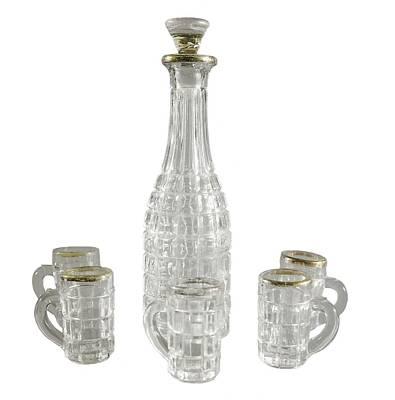 Liquor Bottle And Five Handled Glasses Print by Everett