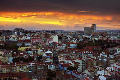 Lisbon At Sunset Print by Carlos Caetano