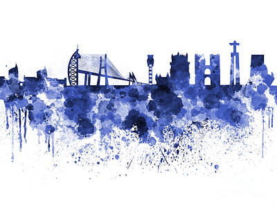 Portugal Art Painting - Lisbon Skyline In Blue Watercolor On White Background by Pablo Romero