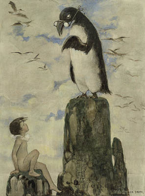 Penguin Drawing - Listen Carefully Circa 1916 by Aged Pixel