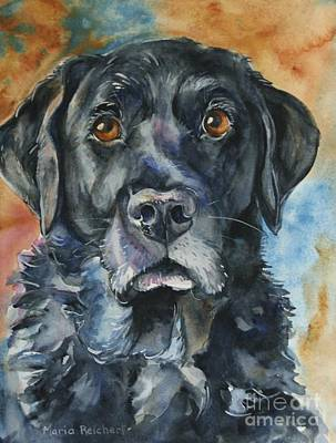 Black Lab Watercolor Painting - Listen by Maria's Watercolor