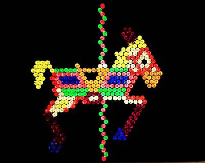 Brite Photograph - Lite Brite - The Carousel Pony by Benjamin Yeager