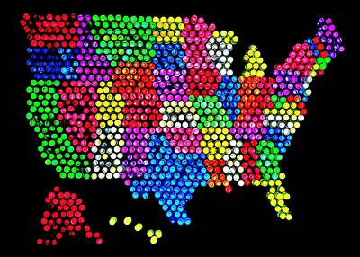 Lite Brited States Of America Print by Benjamin Yeager