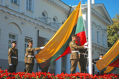 Vilnius Photograph - Lithuania Flag Raising by Mary Lee Dereske