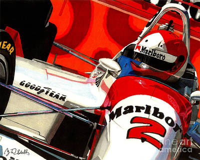 Indy Car Drawing - Little Al by Cory Still