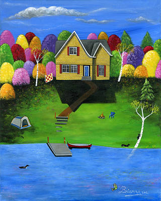 Lakefront Painting - Little Bear Cottage by Brianna Mulvale